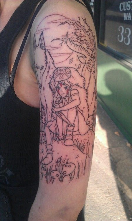 "Beautiful black and white Princess Mononoke tattoo ""First ink :) done by a super talented friend of mine =^.^="""