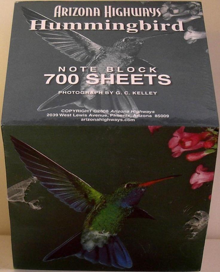 Arizona Highways Hummingbird Note Block Arizona