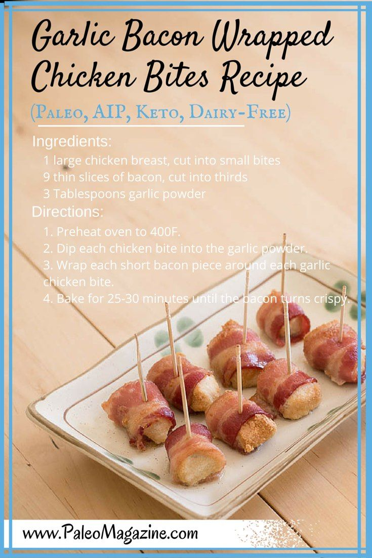 Garlic Bacon Wrapped Chicken Bites poster
