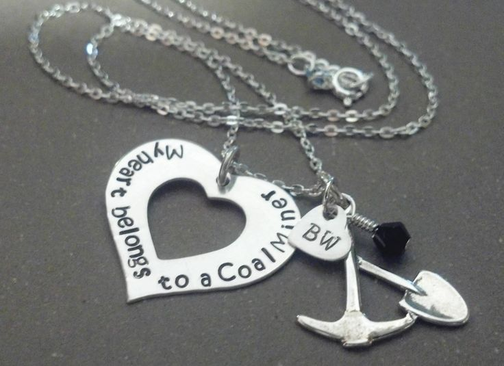 Hand Stamped Personalized My Heart Belongs To A Coal Miner Sterling Silver Necklace Coal Miners Wife Fiancé Girlfriend. $48.00, via Etsy.