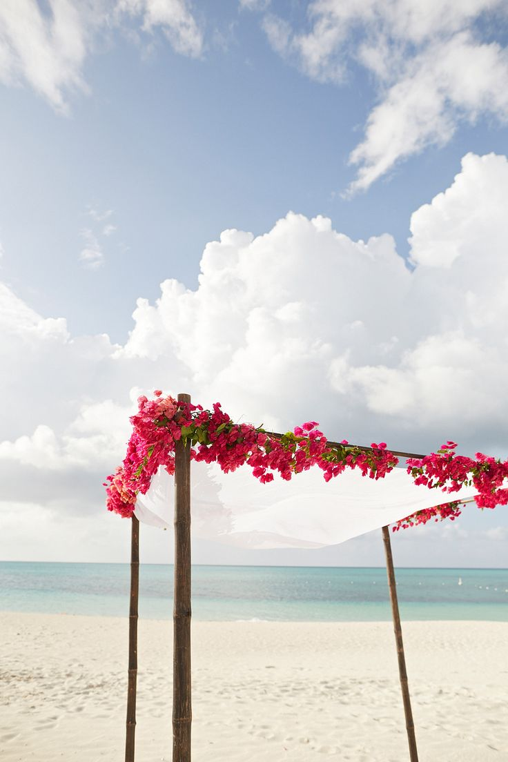 Gorgeous bougainvillea canopy beach wedding For more