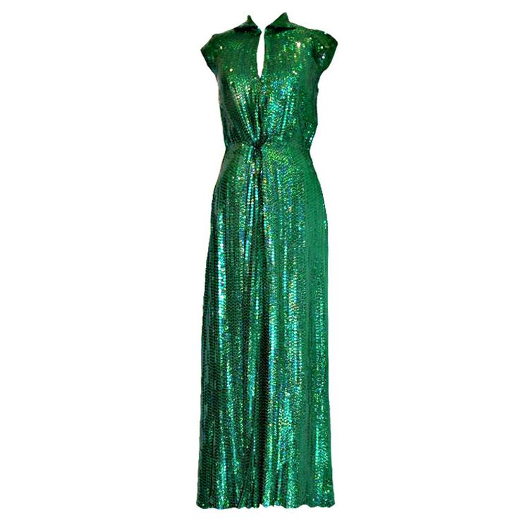 "Vintage Emerald Green Halston Sequin Gown. This is the same style dress that was worn by Miranda in ""Sex in the City 2"". Circa 70's  #1stDibs #SexandtheCity #vintagegown"