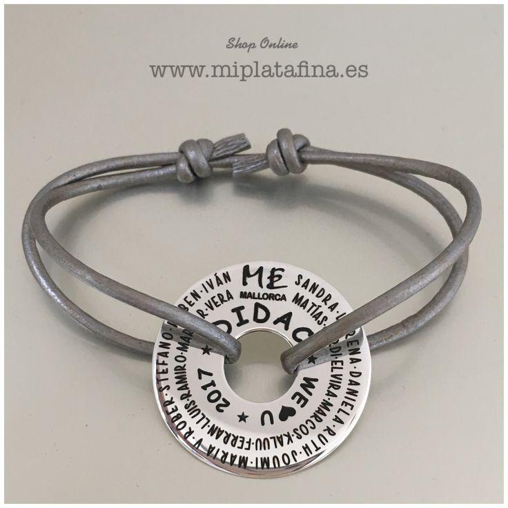 Pulsera ARO XL, joyas grabadas personalizadas. Plata de ley. #silver #pulseras #miplatafina