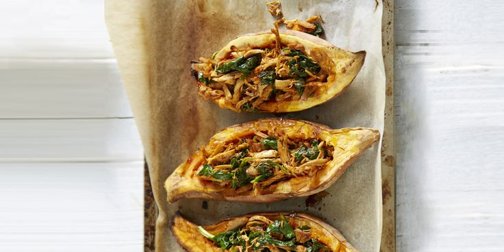Mexican Chicken and Sweet Potato Boats via @iquitsugar