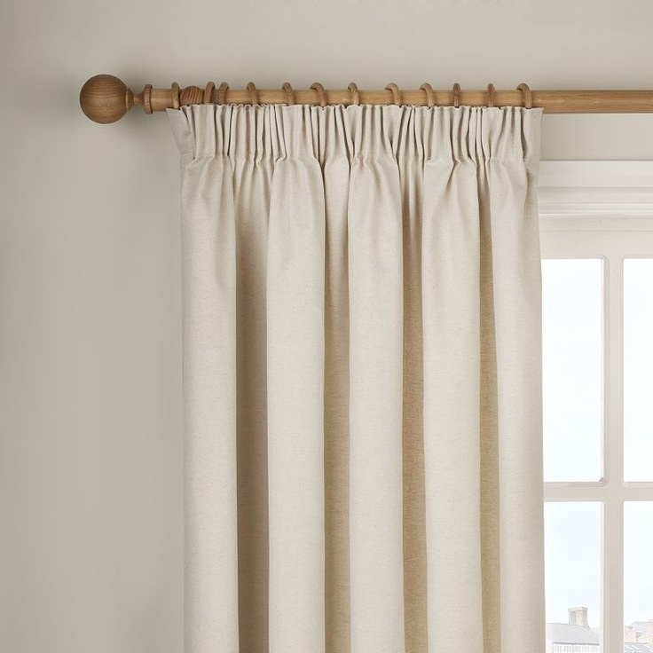 Sitting room curtains? Add a trim...    Buy John Lewis Cotlin Pencil Pleat Curtains, Natural, Pair online at JohnLewis.com - John Lewis