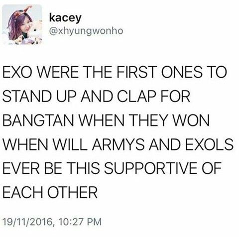 Stop the wars #EXO #BTS. I love both very much<--yes yes yes yes <--- I won't lie, I do get salty with exols sometimes, but not all exols ate obnoxious, and not all armys are either. Let's all support each other!