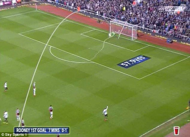 Rooney's effort from 57.9 yards looped over Adrian and into the net