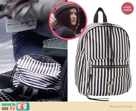 Aria's striped backpack on Pretty Little Liars.  Outfit Details: http://wornontv.net/34216/ #PLL