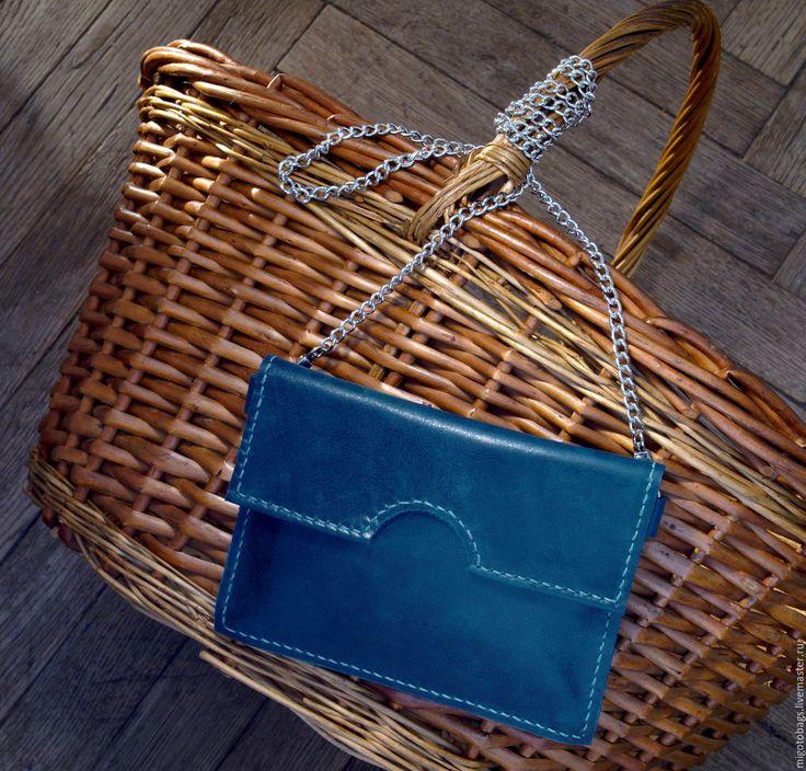 Купить маленькая кожаная сумка цвет морской волны - морская волна, сумка, сумочка
