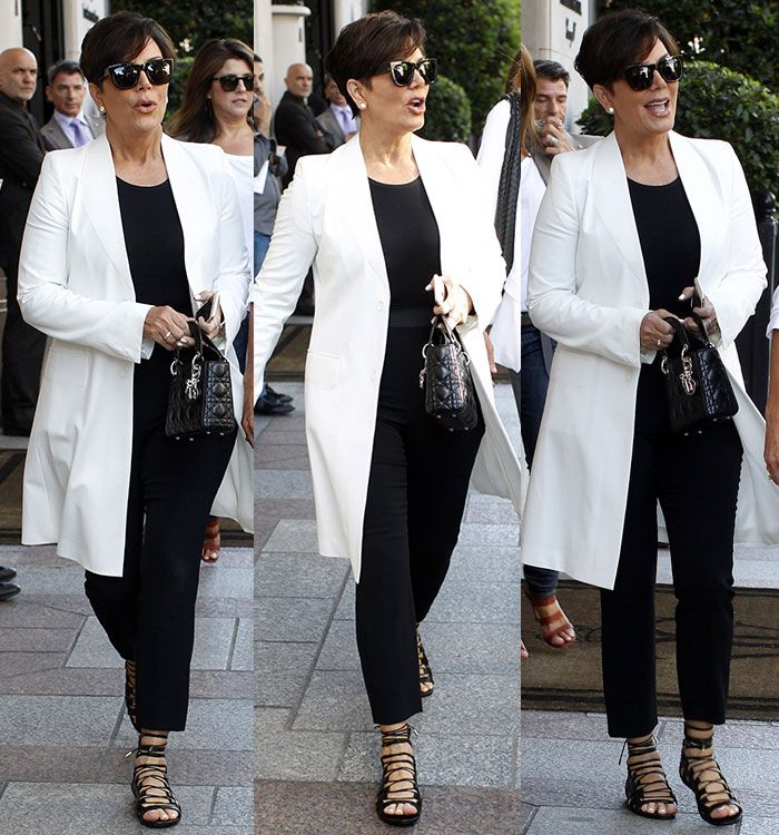 "Kris Jenner Amps Up Her Understated Monochrome Look with Aquazzura ""Amazon"" Flats"