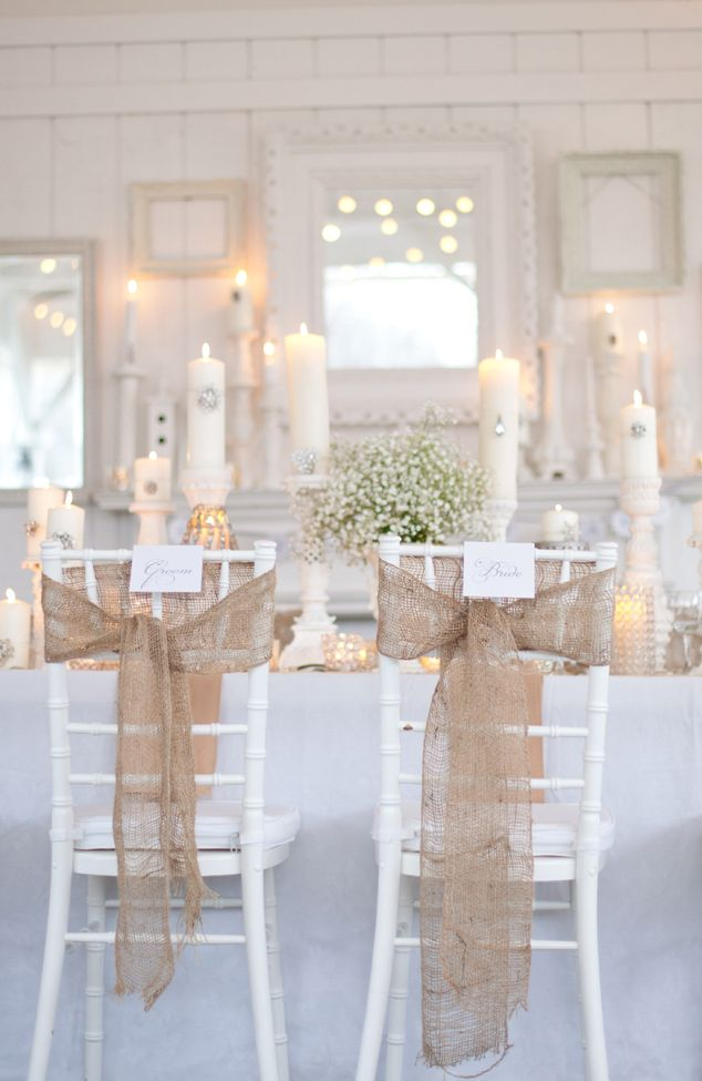 burlap and white!! This pic gave me mantle inspiration... Fill the mantle with candles of all heights and crystal brooches! Burlap stockings!