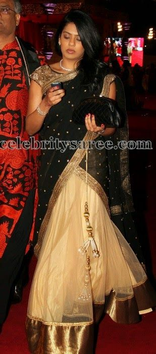 Beige Black Net Half Saree   Saree Blouse Patterns