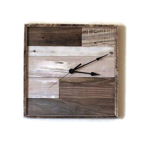 pallet wood clock square wall clock reclaimed wood rustic wall clock industrial