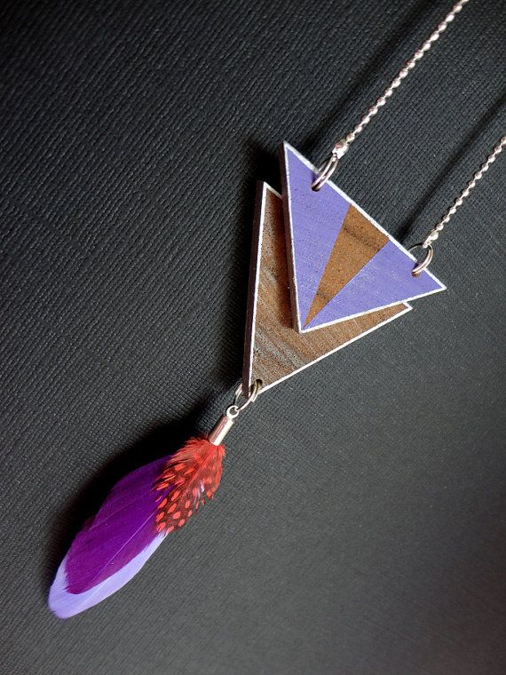 Necklace MANDERA Natural Wood Painted, Feathers