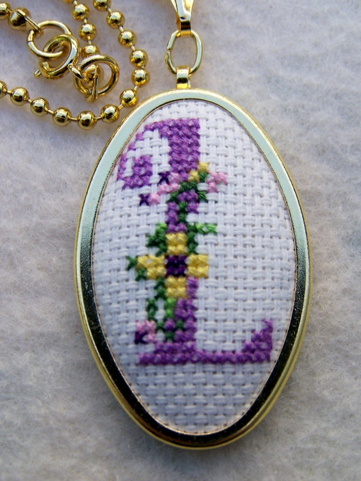 "Cross Stitch Embroidered Necklace ""L"""
