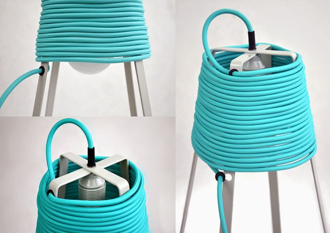 UL Lamp, Vel / A light bulb, a cable, a bulb holder and a metal frame – this is all it takes to create a lamp. The lamp gives off a soft, pleasant light, while the coiled cable casts intriguing shadows on the floor. The fourteen-meter long cable and a mounting system based on rubber cable glands allows the user to wrap the cable around the frame or unwrap it when desired, thus determining both the distance from the power socket and the intensity of the lamp's glow.