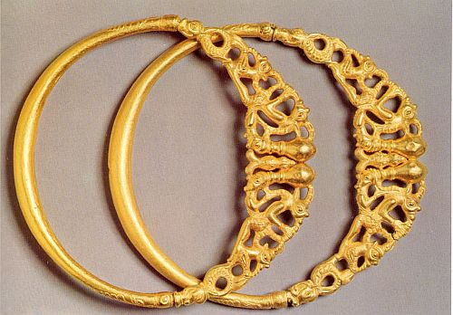 Pair of gold torcs of about 400 BC. from a hoard found at Erstfeld, Swiss Alps