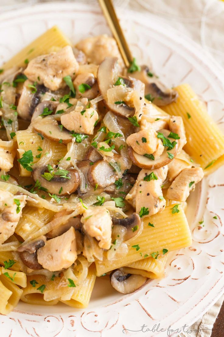 This marsala chicken rigatoni and mushroom pasta is pure comfort food and you will love every bite of this pasta loaded with chicken, onion, and mushrooms!