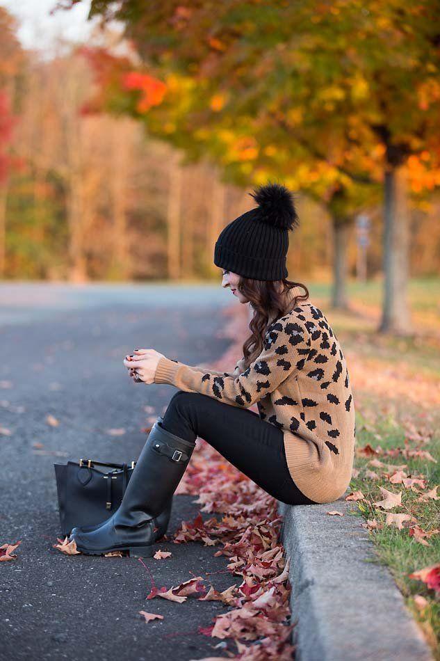 leopard sweater // Hunter boots // LipglossandLabels.com