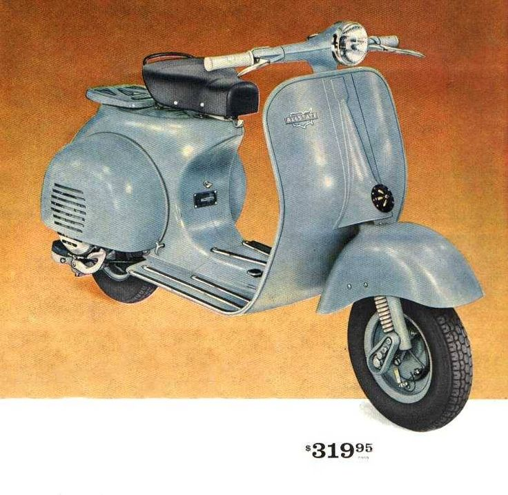 """1961 Allstate Cruisare 125cc scooter in """"appliance blue"""". I wish they still cost that price."""