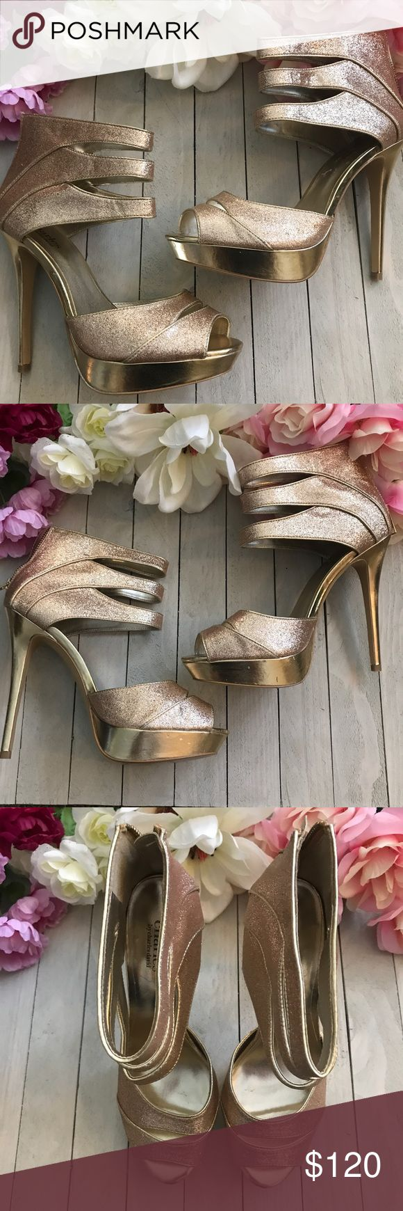 🚨FINAL PRICE DROP🚨Charles David Heels 🚨FINAL PRICE DROP 🚨Charles by Charles David Rose Glitter and Gold Platform Heels Size 9. Worn once. Few little dents in Platform but hardly noticeable until you look up close. Fantastic condition and beautiful Heels 😍😍 Glitter looks a bit rose and Platform is gold Charles David Shoes Platforms