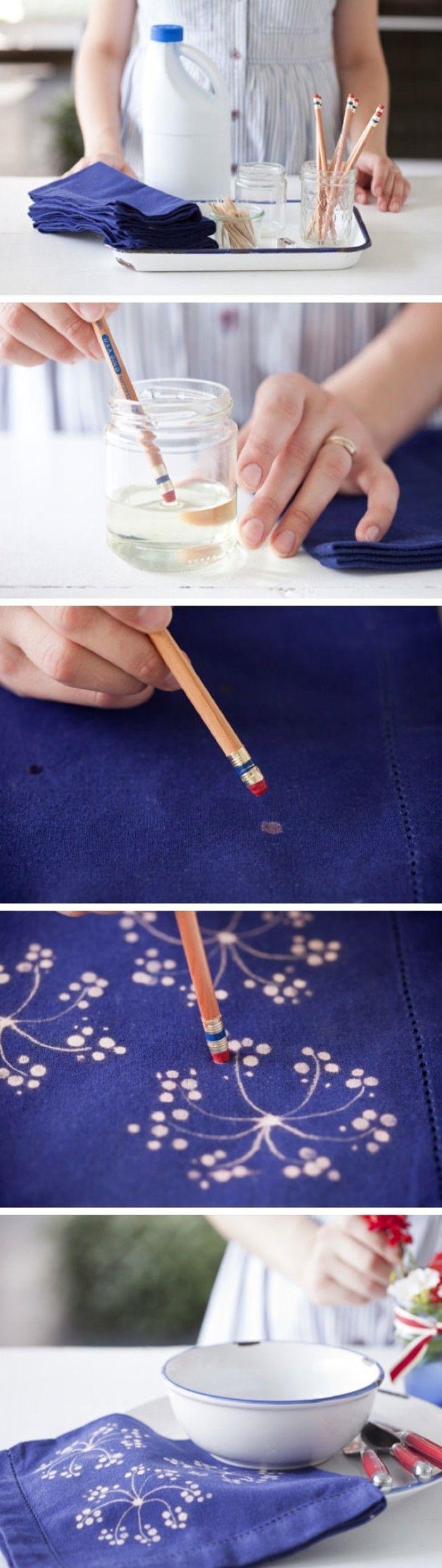 找不到理想花布的圖案嗎? 利用漂白劑和鉛筆頭,將素色布以沾點方式,自製布的圖樣,做出有別於大量批發布的創意,相當簡單卻又很有效果!