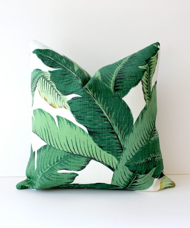 "Modern Tropical Green Designer Pillow Cover 18"" Accent Cushion White forest aloe emerald Resort summer leaves summer banana hawaii. $40.00, via Etsy."