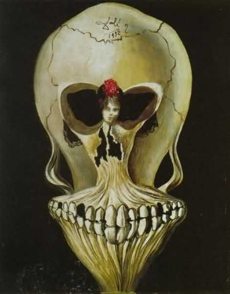 Salvador Dali illusion skull/ballerina - skull illusions were all the rage for a while around the turn of the 20th C