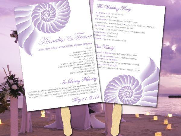 Beach Wedding Program Fan Template
