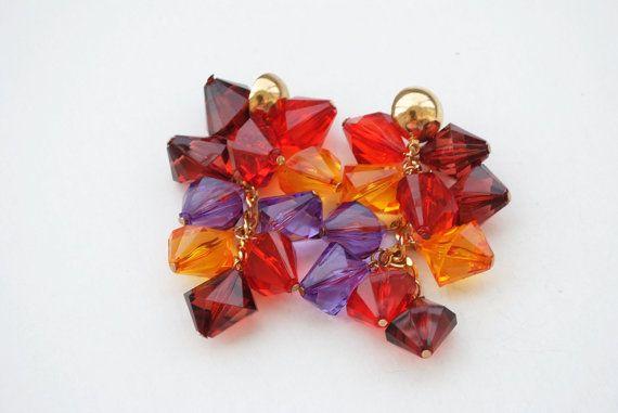 Vintage Cluster Earrings Colorful Earrings by SoulSisters16