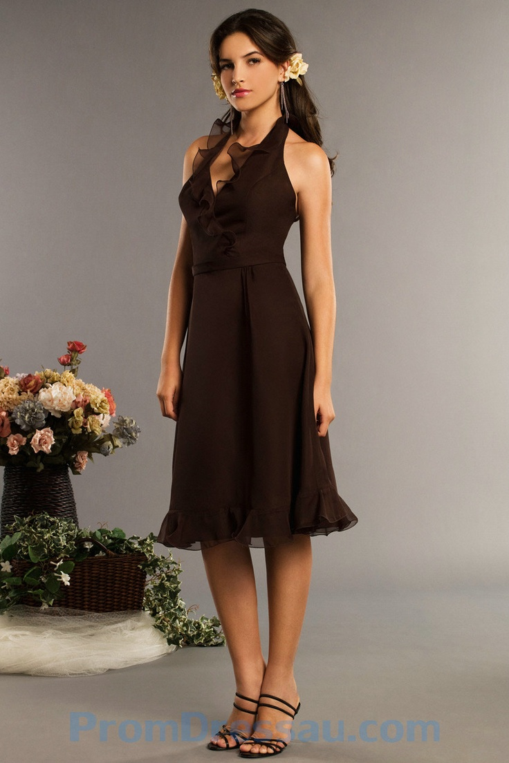 13 best bridesmaid images on pinterest bridesmaid dress dress halter ruffles chiffon short brown backless bridesmaid dress ombrellifo Gallery