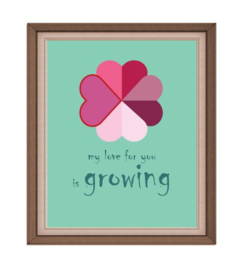 INSTANT DOWNLOAD  love is growing  Printable by rabbitsillusions