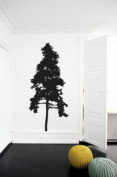 Ferm Living Timber Wall Sticker black vinyl 80x220cm