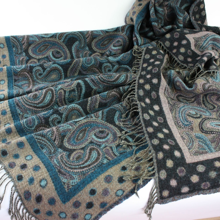 'Peacock Paisley' 100% Pure Wool Throw Rug by Juniper Hearth. Soft grey denim blue and aqua, with a hint of mauve in a contemporary paisley design. $195.
