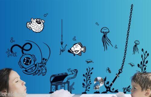 Pegatinas decorativas Infantiles Baños Fondo del Mar Med.90*145cm Mural Infantil. Convierta el baño de sus pequeños en un fondo marino con esta simple pero preciosa pegatina infantil.