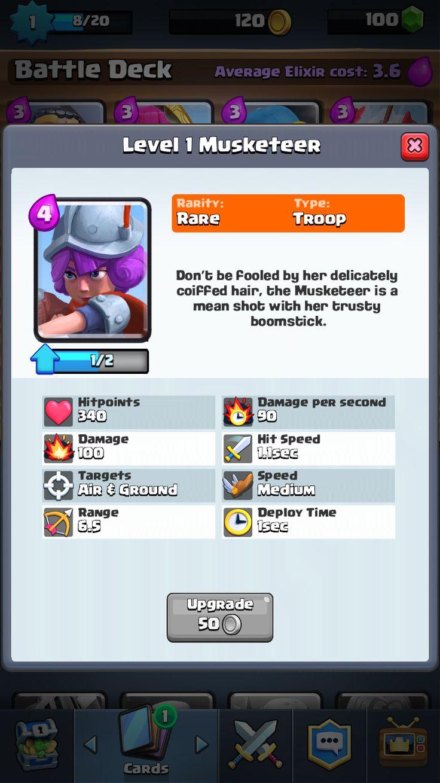 """Clash Royale"" on iOS. Card Profile."