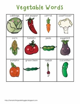 Writing Center Tools- Vegetable Words