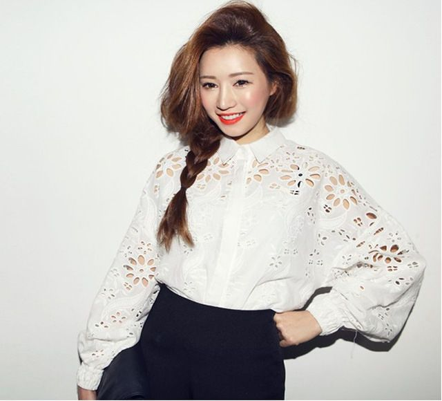 crochet embroidery hollow out women blouse white long sleeve shirt 390 | Rayca!
