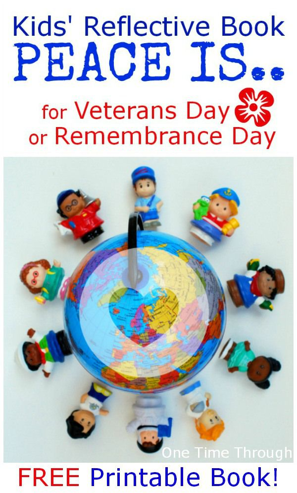 "Get your FREE copy of this reflective kids' ""PEACE Is..."" Book for Remembrance Day/Veterans Day. Perfect for helping young children to see what they can DO to create peace in their lives and their families. {One Time Through} #remembranceday #veteransday #kids"