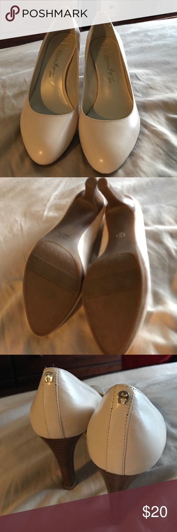 "Etienne Aigner Lux Cream Leather Platform Pumps 3.5 Wooden heels, with 1/5"" platform. Comfy cushion insoles. I love these shoes, but I need a wide. They are in great condition. Worn once. Etienne Aigner Shoes Platforms"