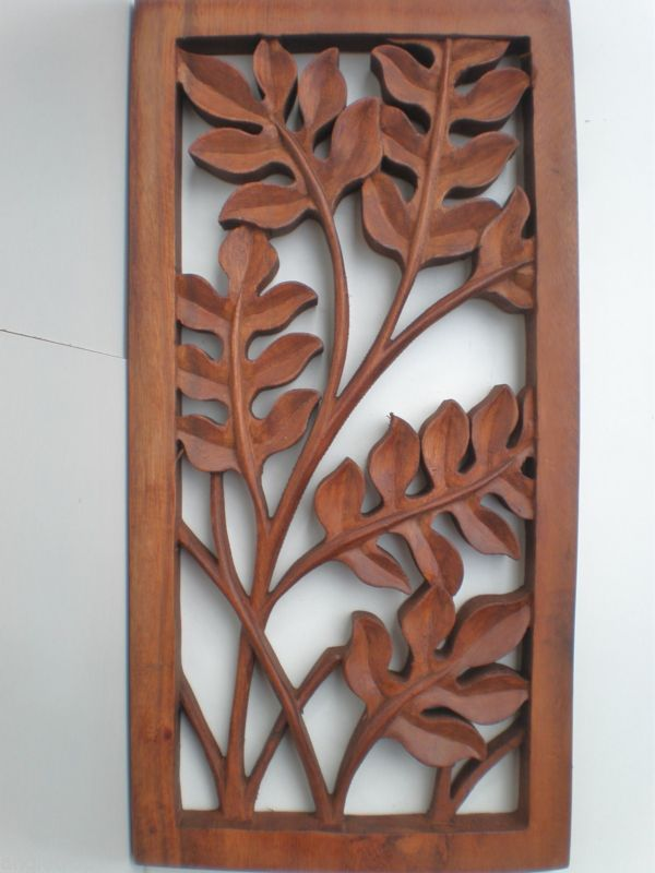 BALI LEAF WOOD CARVED WALL ART HANGING RELIEF CARVING BALINESE 40CM
