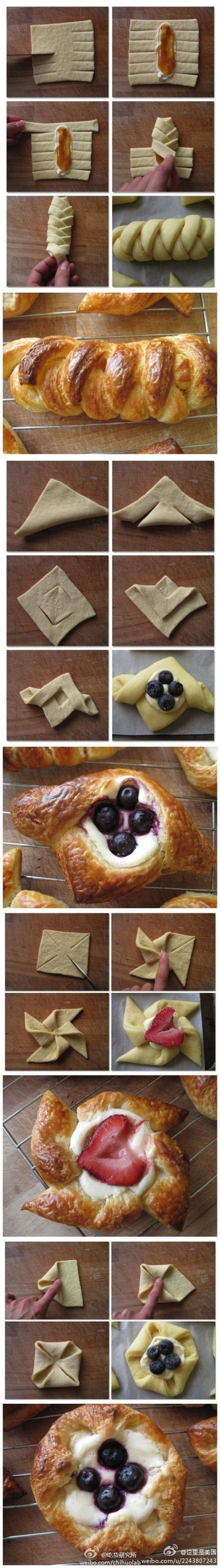 Jam & sweetened cream cheese or Marscapone Danishes.  Use ready made puff pastry for a super easy breakfast treat. Bake and serve.