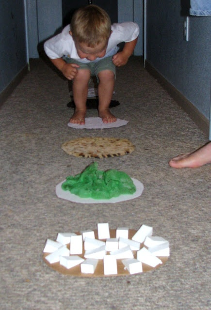 Sensory stepping stones: Glue various materials to cardboard and shelf liner on the opposite side for traction, then cut into stepping stones. Practice big steps, small steps, etc.