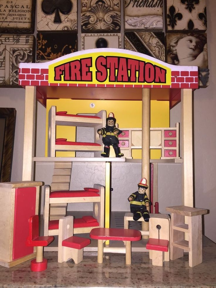 "KidKraft fire station And Wood Doll Furniture (no fire truck) 16x16"" #KidKraft"