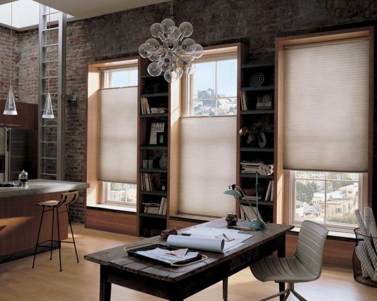 Classy Office Interior Design With Natural Brick Wall And Archaic Table Also Wall Mounted Bookshelves And Unusual Chandelier Design - Use J/K to navigate to previous and next images