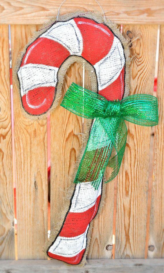 Candy Cane Burlap Door Hanger on Etsy, $25.00