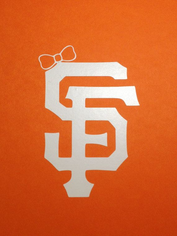 San Francisco Giants SF Logo With Bow Vinyl Decal - Large - Car Decal - Bumper Sticker