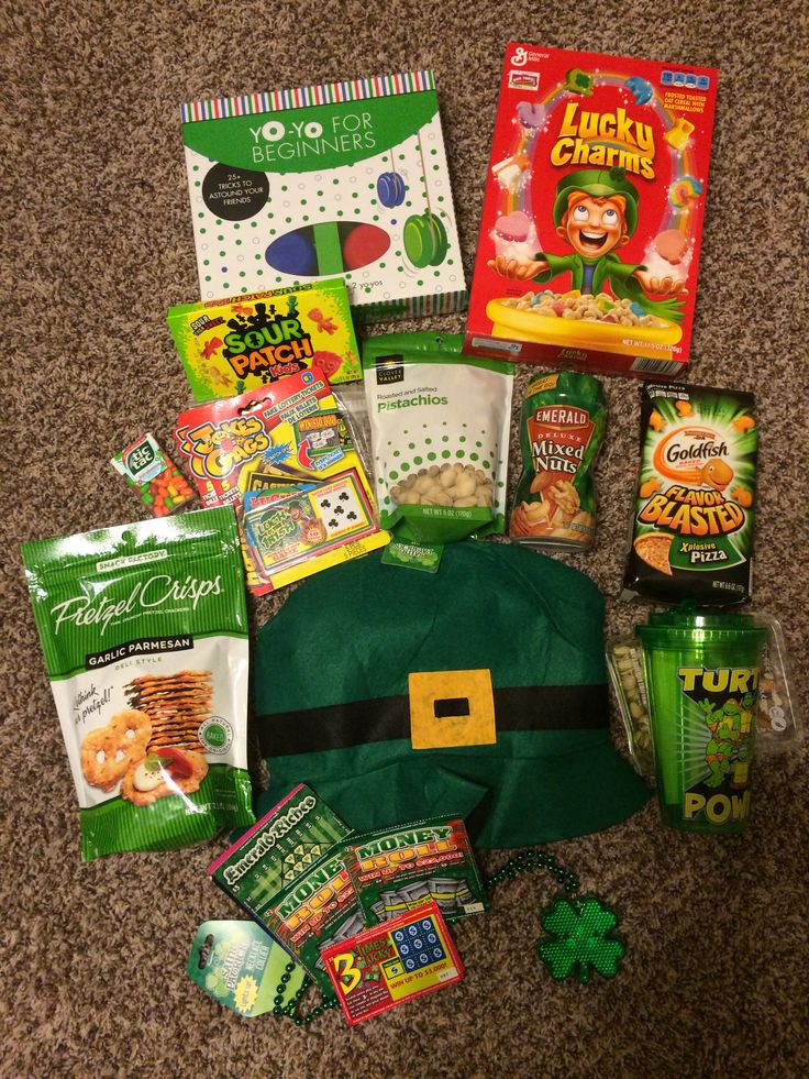 St. Patty's Day care package. Everything inside is green