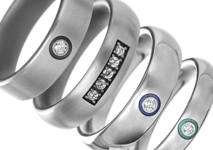 Titanium, andodised and diamond set rings. Colourful choices available.  High quality designer jewellery by Ti2 Titanium, made in the UK.