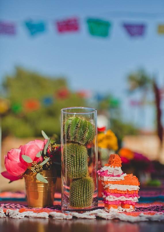 Fiesta Wedding Cactus centerpieces!